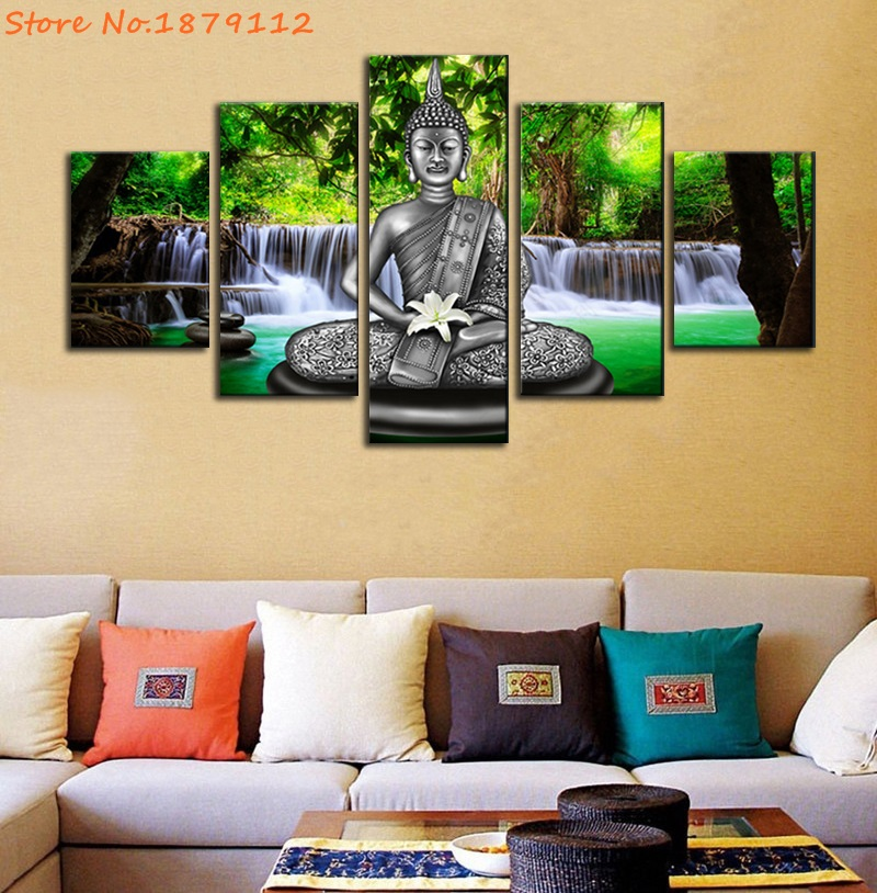 Waterfall Background Buddha Hold Carnations Not Framed Painting HD ...