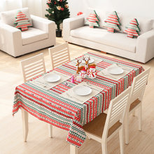 Custom Made Luxury Christmas Cotton Linen Xmas Table Runner Satin Tablecloth Red TableCloth Placemat Xmas Table Mat Cloth Covers(China)