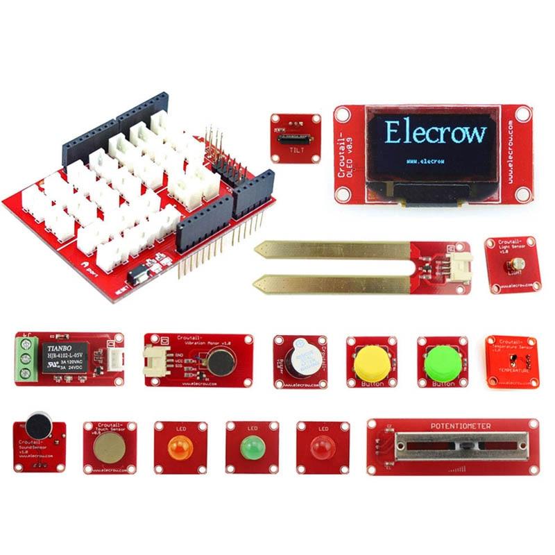 Kit de démarrage Elecrow Crowtail pour Kit d'apprentissage Arduino bricolage Version améliorée Suite d'apprentissage avec Kits de bricolage