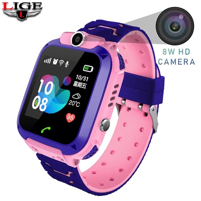Waterproof Children Smart Watch SOS Emergency Call LBS Secure Base Station Positioning Tracking Baby Digital Watch 2G SIM Card