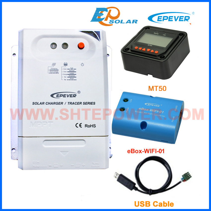 solar pv charger controller MT50 remote Meter wifi eBOX Phone APP Tracer3210CN 30A 30amps CN USB communication cable EPEVER solar charger controller manufactures epever epsolar ls3024b 30a 30amps wifi ebox phone android system app application