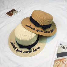 2017 Sun Hat For Women Classic Panama Cap Embroidered Which You Were Here Straw Hat Beach Female Summer British Bow Hat Stetson