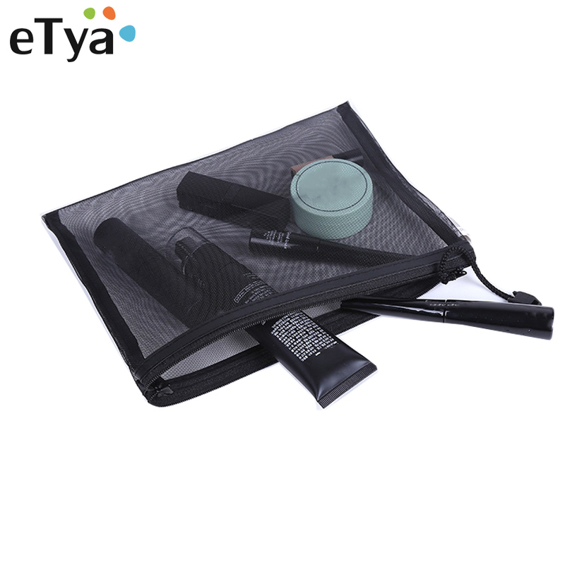 eTya Travel Cosmetic Bag Zipper Portable Female Girl Makeup Pouch Case Women Fashion Transparent Net Toiletry Kits Storage Pouch etya new portable lunch bag thermal insulated snack lunch box carry tote storage bag travel picnic food pouch for girls women