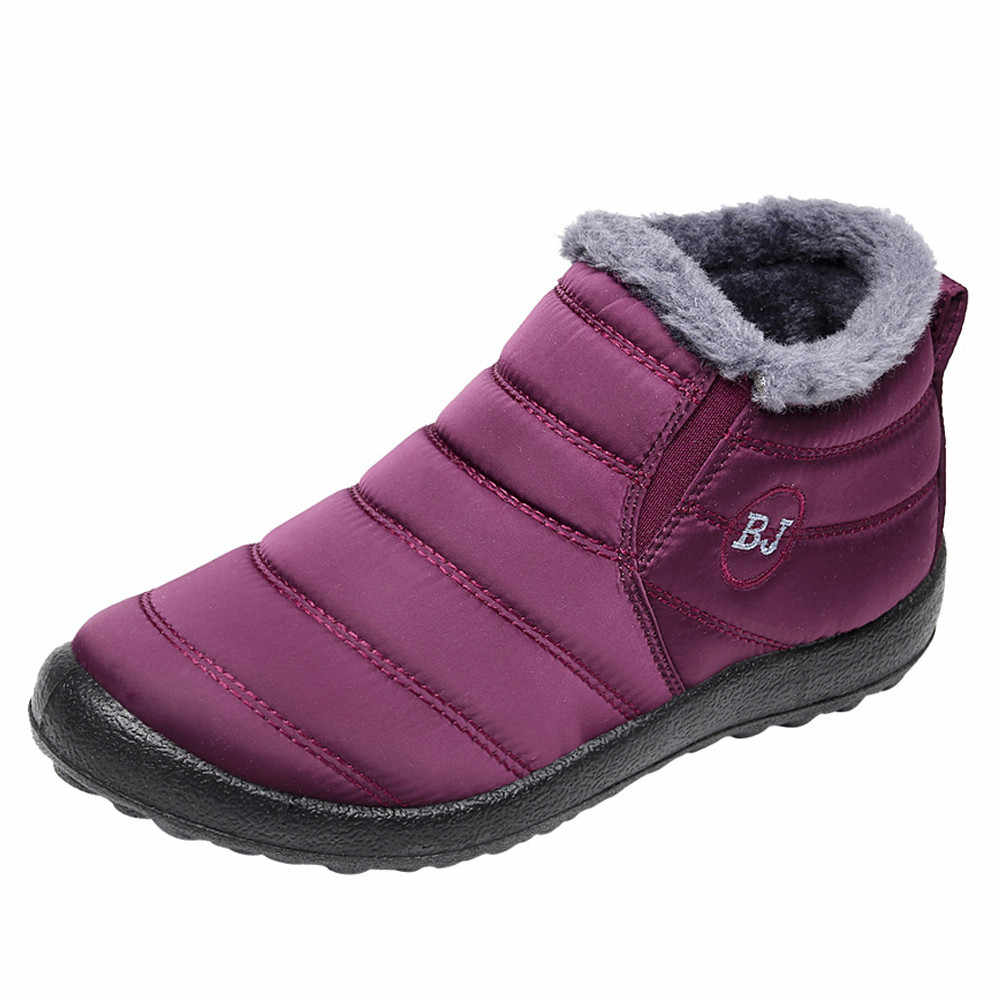 Çizmeler kadın ayakkabıları Düz Renk Kış Sıcak Tutmak yarım çizmeler Artı Kadife Çizme Düz Kar Botları Chaussures Femme Ayakkabı Kadın