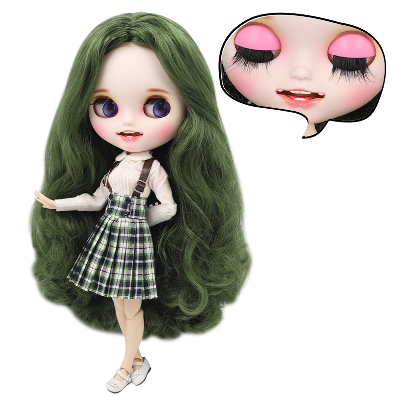 ICY factory blyth doll 1 6 bjd custom doll green hair new matte face with teeth