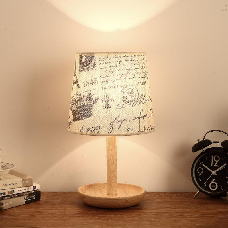 Contracted and contemporary real wood desk lamp creative individuality bedroom bed study living room lights Nordic wooden lamps contemporary and contracted creative personality retro art glass chandelier cafe restaurant study lamps act the role of milan