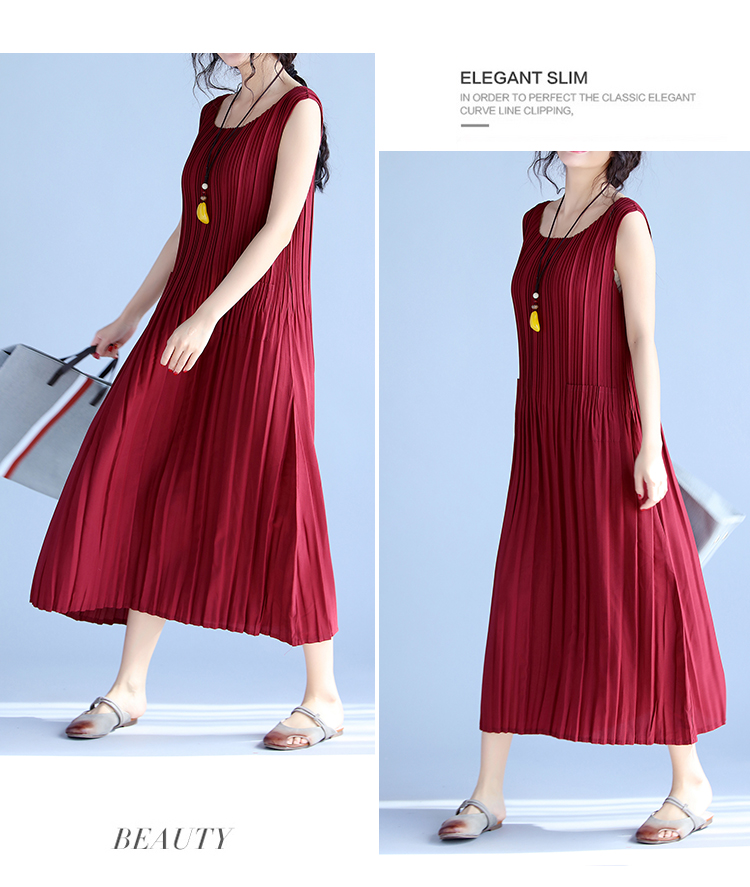 BelineRosa Women's Summer Dresses 17 Pure Color Casual Women Draped Dress Sleeveless Plus Size Dresses for Women QY00001 11