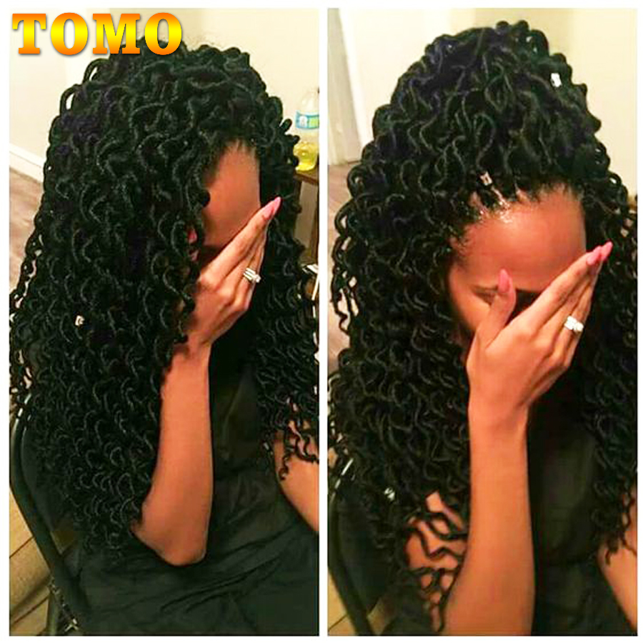 TOMO 24 Roots 18Inch Goddess Faux Locs Curly Crochet Braids Hair Ombre Kanekalon Synthetic Dreadlocks Hair Extensions For Women