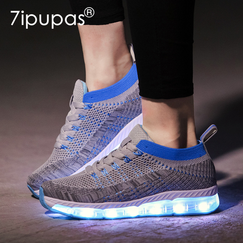 7ipupas New air cushion Kids shoes Fly fabric Shock absorption sneakers usb led glowing casual shoe unisex Luminous sneakers children usb charging kids led shoes adult man women led luminous sneakers casual boys girls breathable sneakers glowing shoes