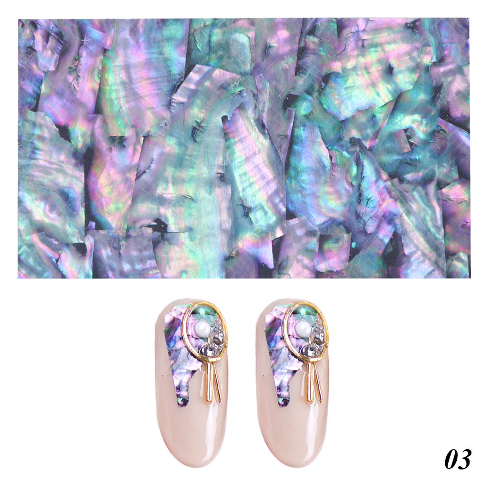 1pc Ocean Style Shell Abalone Nail Foils Gradient Marble Pattern Transfer Decals Mermaid Flakes Design Stickers Manicure 3