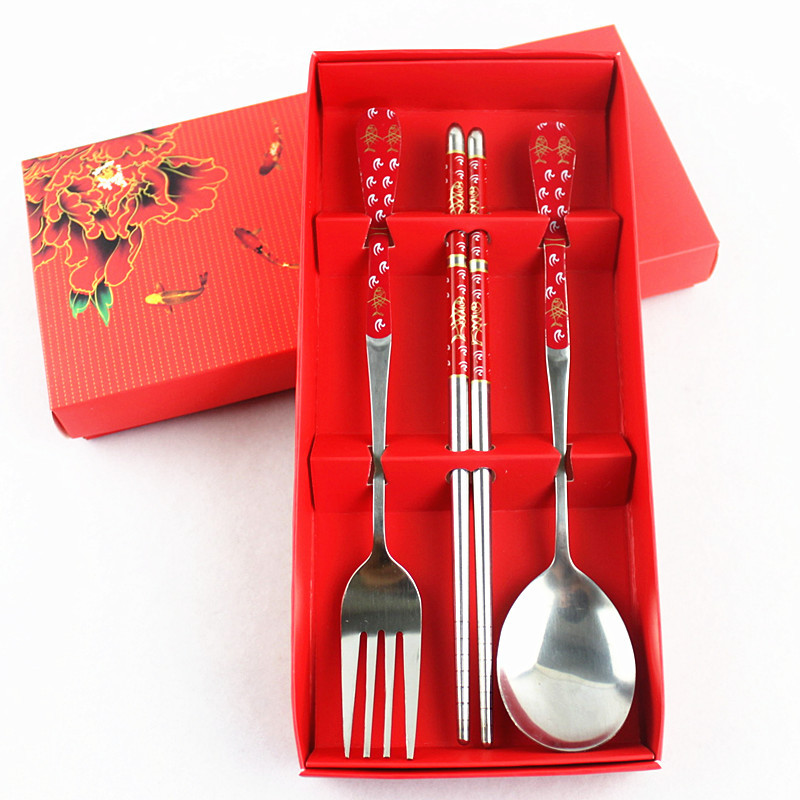3PCS//Set Stainless Steel Fork Spoon Chopsticks Chinese Kitchen Tableware Gifts