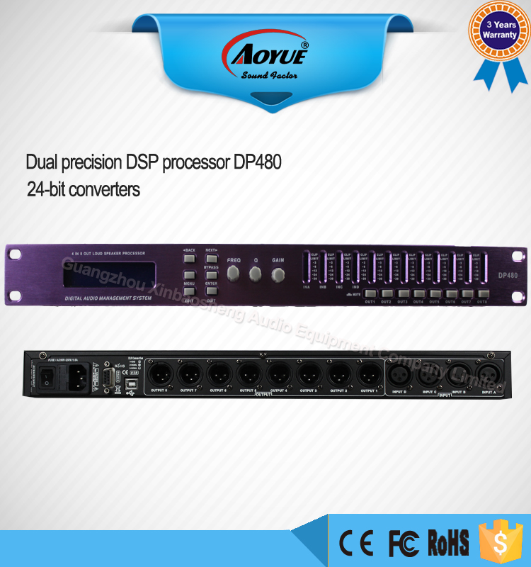 (Christmas promotion) Digital audio processor 4 in 8 out loudspeaker systems processor DP480 wavelets processor
