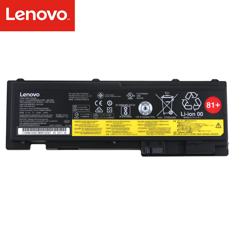 Original Laptop battery For Lenovo Thinkpad T420S T430S FRU 45N1037 ASM 45N1036 11.1V 44Wh 0A36309 14 8v 46wh new original laptop battery for lenovo thinkpad x1c carbon 45n1070 45n1071 3444 3448 3460