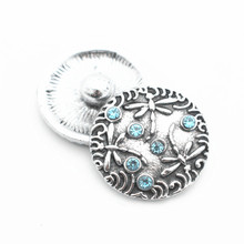Hot Sale 10pcs/lot Metal Vintage Blue Crystal Dragonfly Snap Charms Fit 18mm Ginger Buttons Bracelets Necklace DIY Jewelry