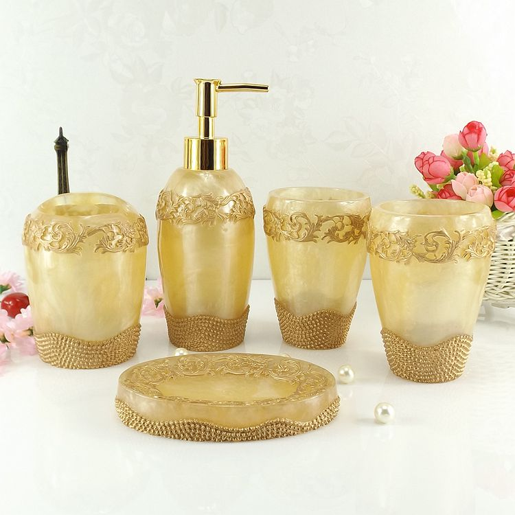 Resin bathroom five pieces set fashion supplies wash set five pieces set dental Bath bottles toothbrush holder Tumbler Set