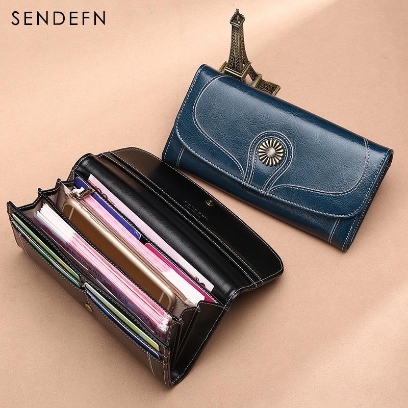 Sendefn New Wallet Designer Purse Retro Oil Wax Leather Purse Women Long Quality Womens Wallets And Purses Zipper Pocket