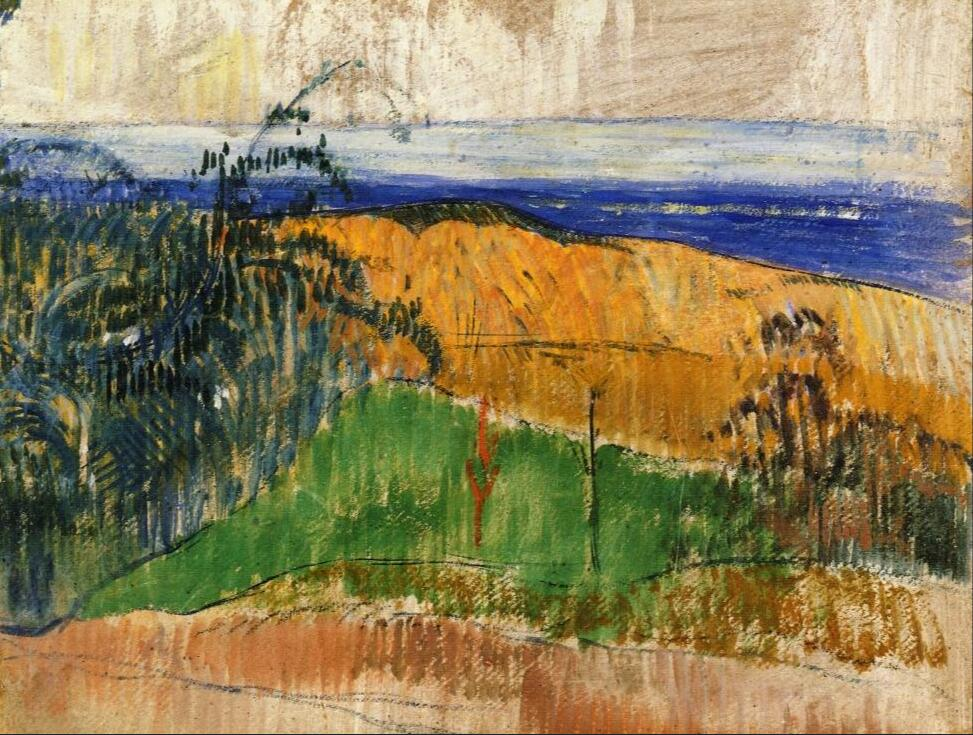 High quality Oil painting Canvas Reproductions View of the beach at Bellangenai (1889) by Paul Gauguin hand paintedHigh quality Oil painting Canvas Reproductions View of the beach at Bellangenai (1889) by Paul Gauguin hand painted