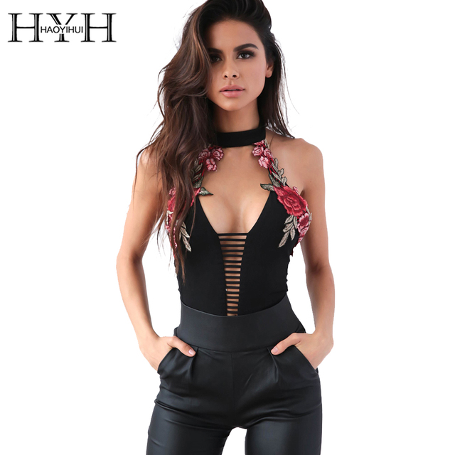 953a07b670e2 HYH HAOYIHUI Halter Hollow Out Sleeveless Bodysuits Romper Flower Pathwork Backless  Jumpsuits Deep V Neck Strap Bodysuit