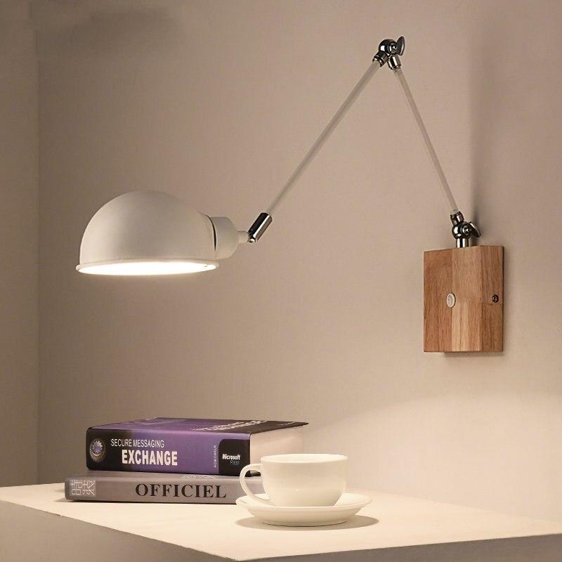 Nordic Modern Creative Wall Lamp Living Room Bedroom Bedside Luminaria LED Solid Wood Study Aisle Metal Long Arm Wandlamp