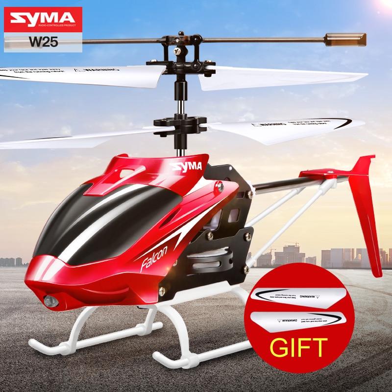 100% Original SYMA W25 2CH interior pequeño RC eléctrico de aleación de aluminio Drone helicóptero de Control remoto Shatterproof niños Juguetes