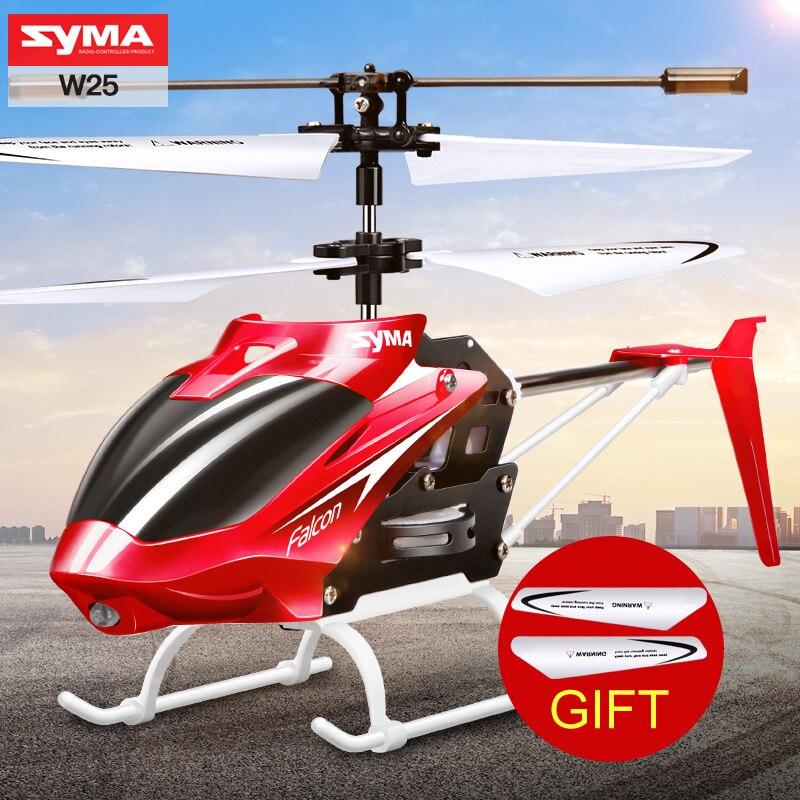 100% original Syma w25 2ch interior pequeño eléctrico RC aleación de aluminio drone Control remoto helicóptero irrompible Juguetes
