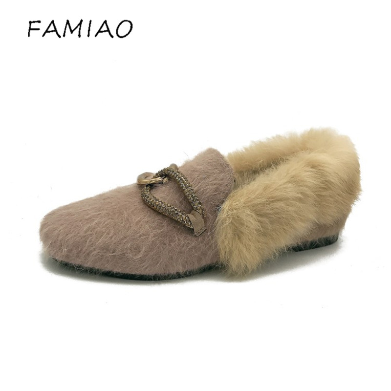 FAMIAO faux Fur Metal Decoration Woman Loafers Round Toe Mother Winter Shoes Women Warm Flats with Short Plush Women's Shoes mac makeup cosplay wig ll 100cm double clip in ponytails silver white long straight synthetic pureca anime cosplay wig