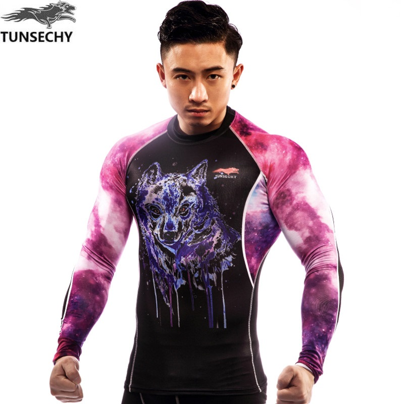TUNSECHY Best-selling Brand men's digital printing round collar T-shirt fashion compression long-sleeved T-shirt free shipping