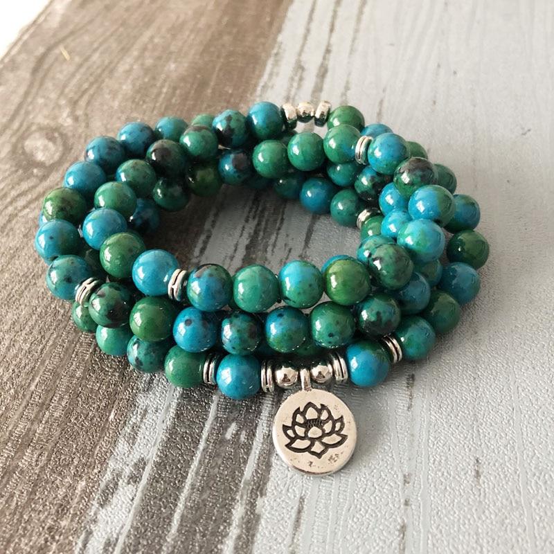 Dashing 108 Green Beads Mala Bracelet Lotus Flower Om Wrist Buddhist Buddha Yoga Bracelets For Unisex Men Azurite Stone Bracelet