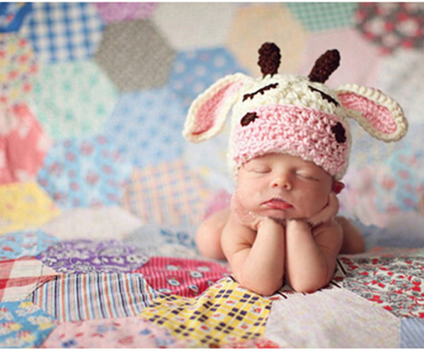 0 6months Handmade Crochet Baby Cow Ears Hat Beanie Photography Prop