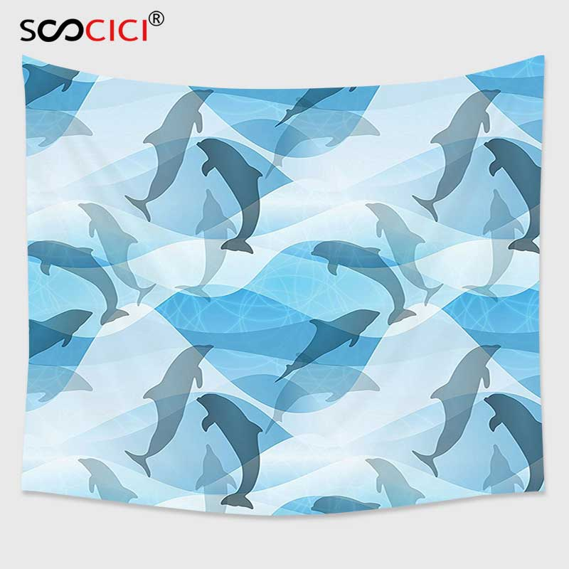 Cutom Tapestry Wall HangingSea Animals Decor Dolphin Pattern Silhouette Under The Sea Waves Contemporary Design