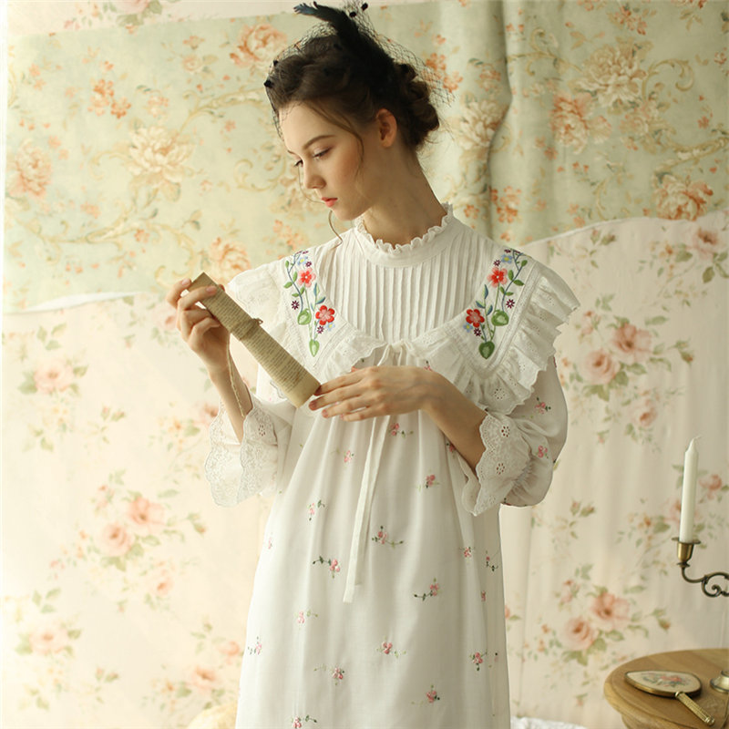 French Fancy Sleepwear Luxury Delicate Roses Embroidered Princess Dress For Wedding Romantic Nightgown Ultra High Quality T233