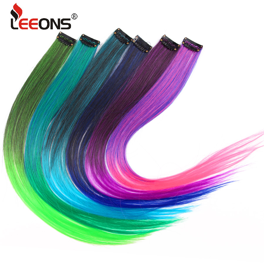 Synthetic Clip-in One Piece Leeons Clip Hair Extension Natural Synthetic Hair Kanekalon Long Fake Hair Ombre Red Pink Gray Hair Extension 57 Colors Orders Are Welcome.