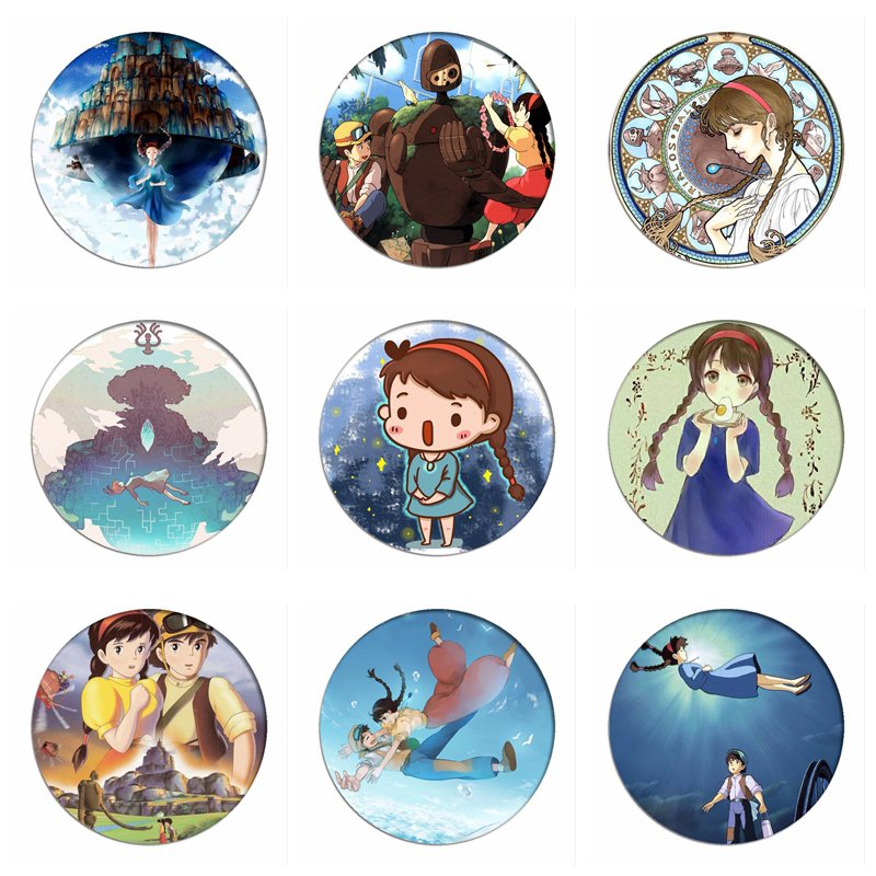 1pcs Laputa Castle In The Sky Cosplay Badge Sheeta Lucita Cute Brooch Pins Collection Badges For Backpacks Clothes
