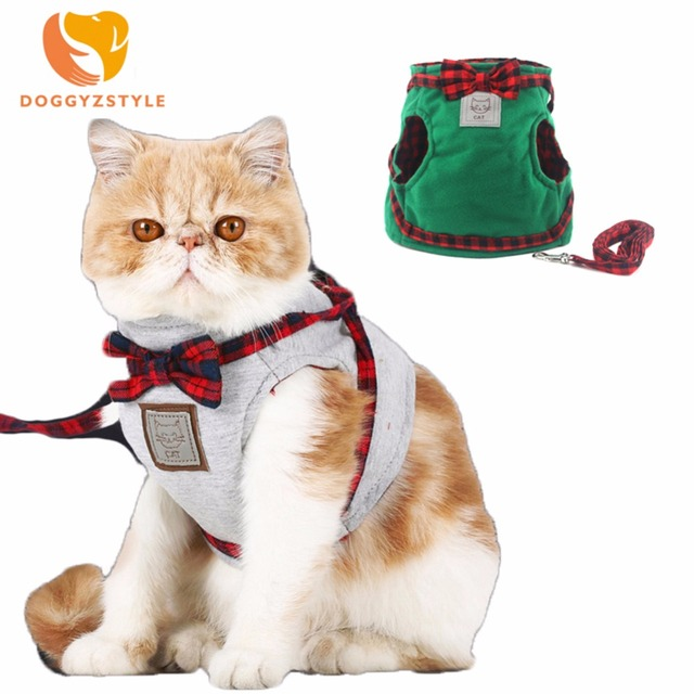 Doggyzstyl Cat Harness Vest Leash Bow Tie Traction Cloth Vests For Small Dogs Puppy Cats Walking