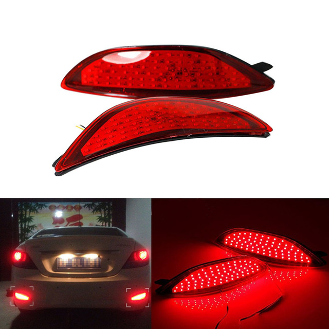 2PCS Red Lens LED  Bulbs Car Styling Warning Rear Bumper Reflector Brake Light Stop Fog Lamp For Hyundai Accent Verna 2008-2015