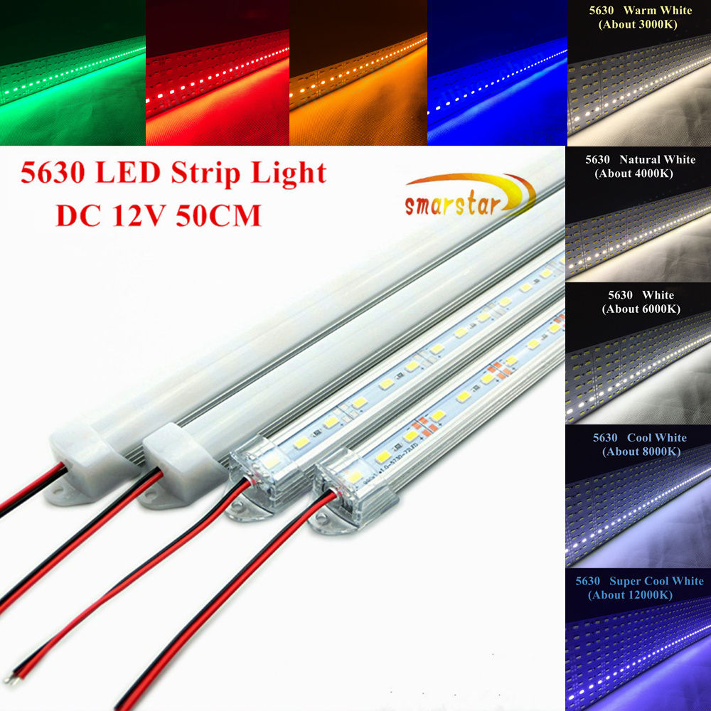 50 cm 5630(5730) <font><b>Led</b></font> Strip Light Hard <font><b>bar</b></font> Aluminum shell channel Milky Clear PC Cover End Cap DC <font><b>12</b></font> <font><b>V</b></font> 0.5 m 36LED Lighting Lamp image