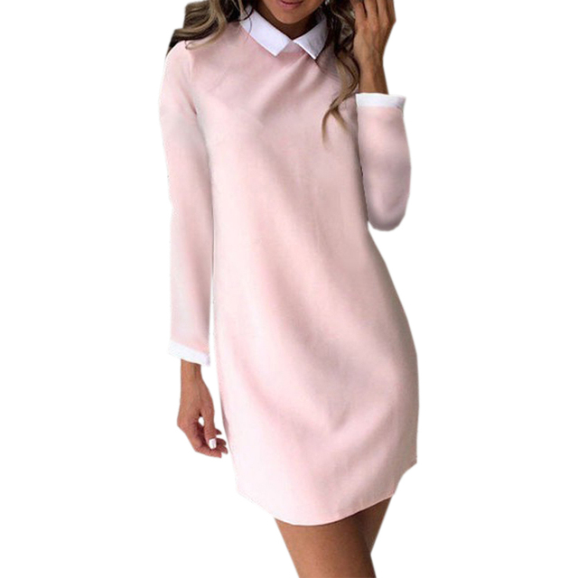 5ae5f5bf18ad Autumn Pink Mini Dress Women Bodycon Casual Turn Down Collar Elegant Office  Lady Cute Kawaii Dress Fashion Female Clothing M0225