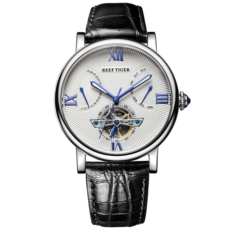 Relojes de diseño Reef Tiger/RT Tourbillon reloj de calidad superior con relojes de piel de becerro y día de fecha para hombre RGA191-in Relojes mecánicos from Relojes de pulsera    1