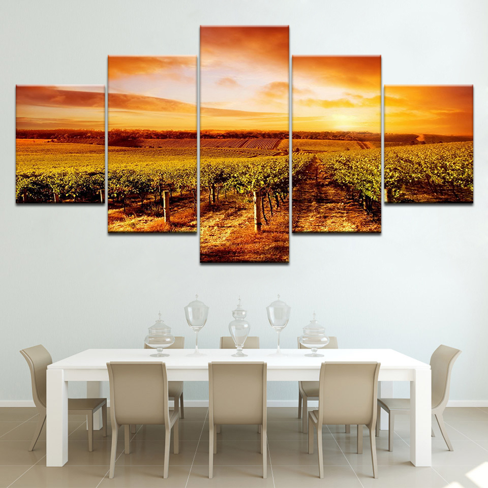 Sunset Hills Vineyards landscape 5 Panels HD Print Wall Art modern Modular Poster art Canvas painting for Living Room Home Decor