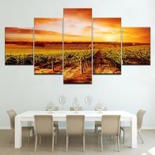цены на Sunset Hills Vineyards landscape 5 Panels HD Print Wall Art modern Modular Poster art Canvas painting for Living Room Home Decor  в интернет-магазинах