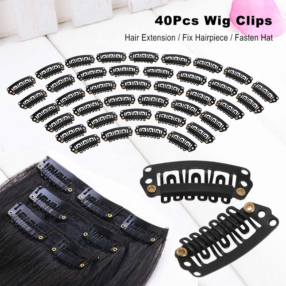 40 шт черный парик для волос Зажимы парика-накладка зажимы для волос защелкивающиеся зажимы для наращивания волос колпачок уток u-образный