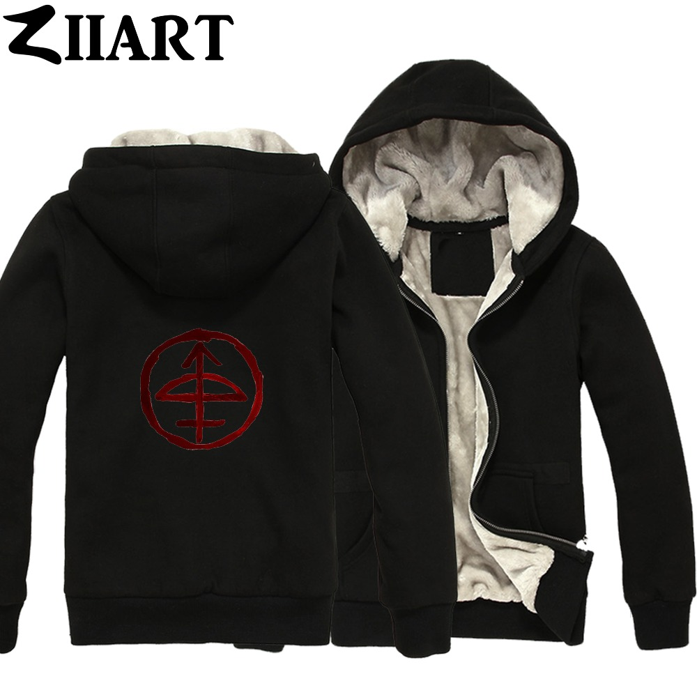 Supernatural Anti-Demon Alternate Dimension Sigil Couple Clothes Boys Man Male Full Zip Autumn Winter Plus Velvet   Parkas   ZIIART