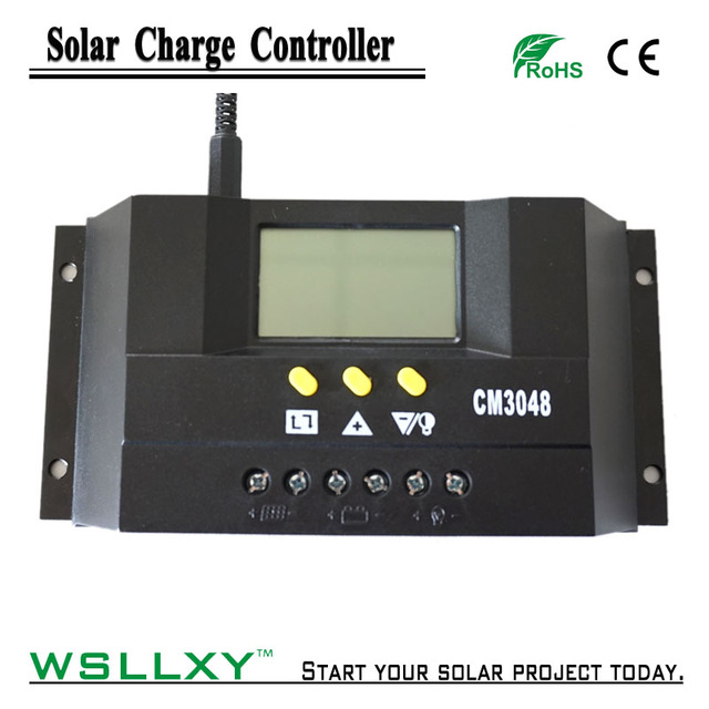 30A 48V Solar Battery Charger Controller Regulator PWM Charge with lcd dispaly Max PV input 100V Solar Controllers 30Amp