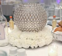 Diameter 20cm Silver Crystal ball centerpiece Wedding Party Crystal Candle Holder