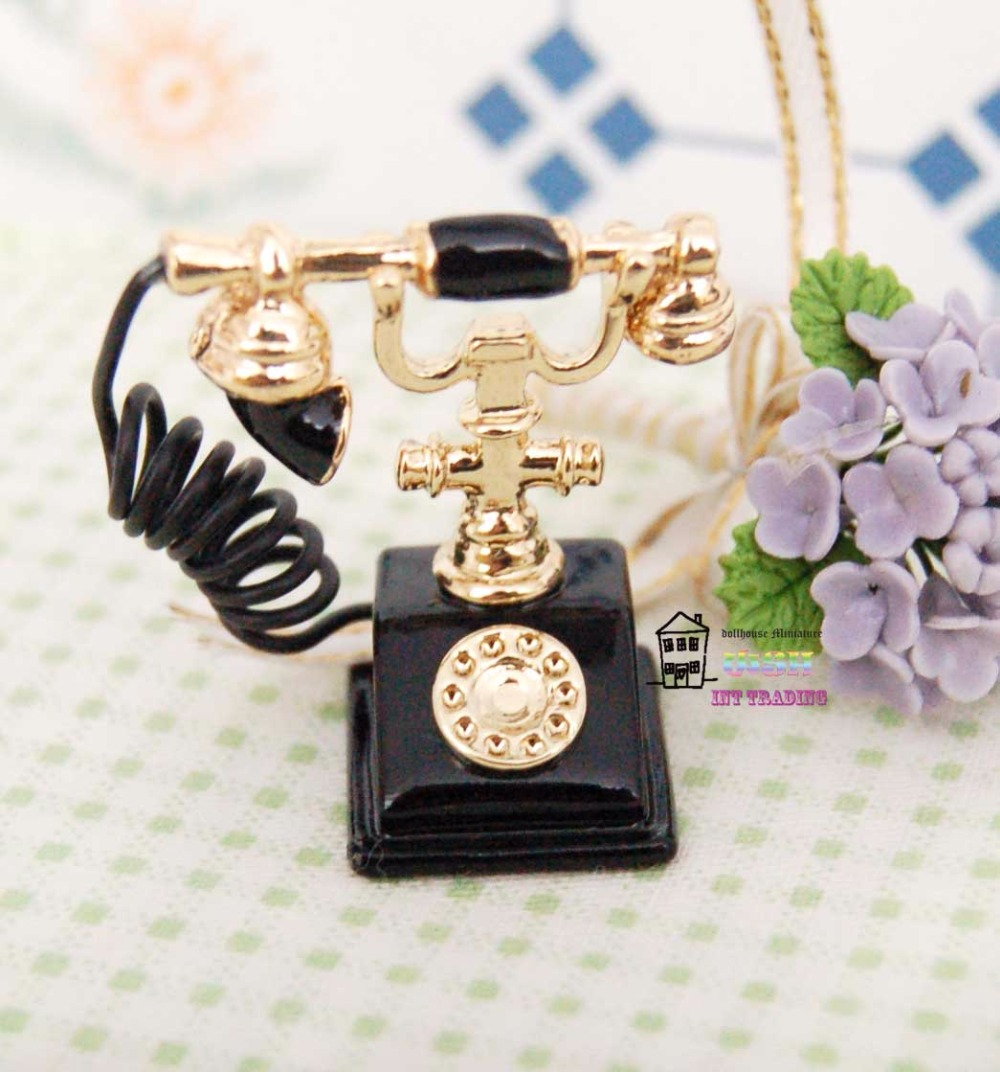 free shipping 1 12 dollhouse miniature vintage rotary telephone phone retro style dolls accessory decoration toy accessory in furniture toys from toys  [ 1000 x 1072 Pixel ]