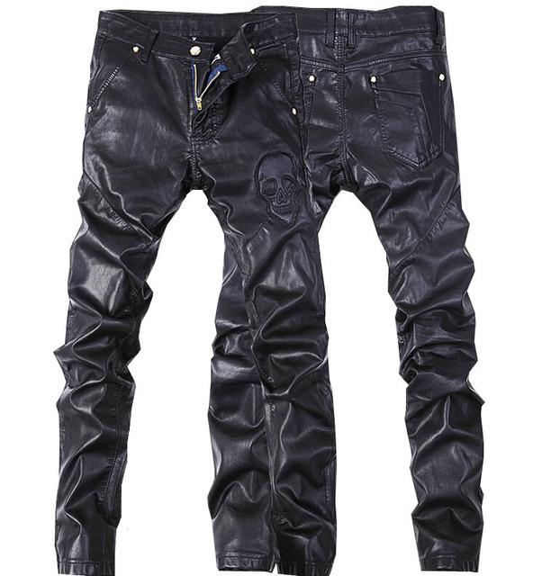 De alta calidad de los Nuevos hombres pantalones de cuero de imitación pantalones de cuero para hombre flaco pantalones vaqueros masculinos de mezclilla pantalones 28-36 (pequeño tamaño) envío gratuito