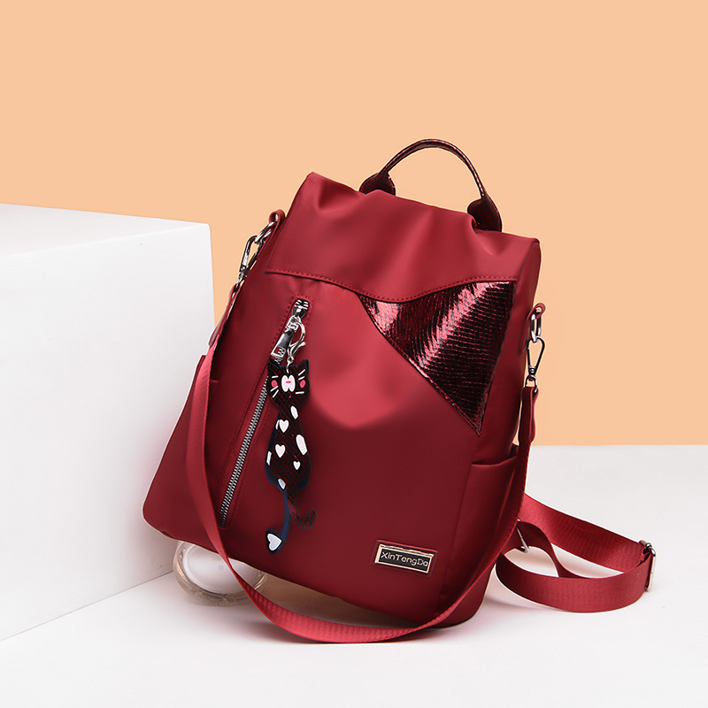 Simple style ladies backpack anti-theft Oxford cloth tarpaulin stitching sequins juvenile college bag purse Bagpack Mochila