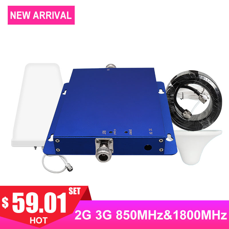 Amplifier cellular signal booster dual band 1800mhz dcs cdma 850mhz 2G voice 2G 3G 4G internet LDPA antenna 65db band3 band5 - Amplifier cellular signal booster dual band 1800mhz dcs cdma 850mhz 2G voice 2G 3G 4G internet LDPA antenna 65db band3 band5 -