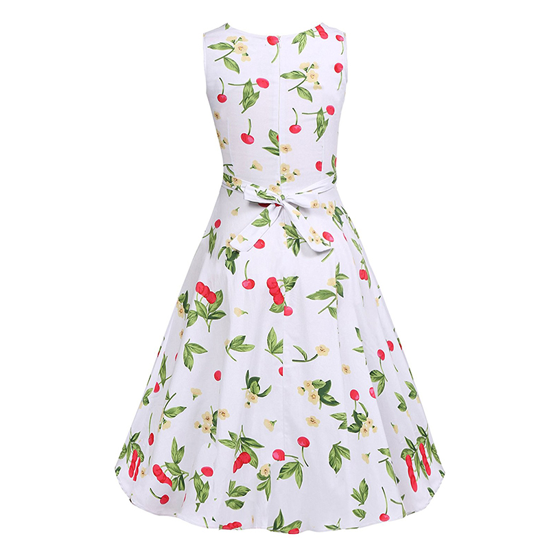 Kostlish Cotton Summer Dress Women 2017 Sleeveless Tunic 50s Vintage Dress Belt Elegant Print Rockabilly Party Dresses Sundress (41)