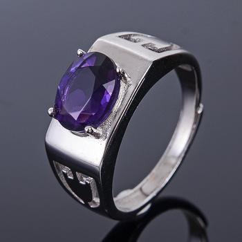 MeiBaPJ Natural Amethyst Gemstone Fashion Ring /Empty Support for Men Real 925 Sterling Silver Fine Charm Jewelry